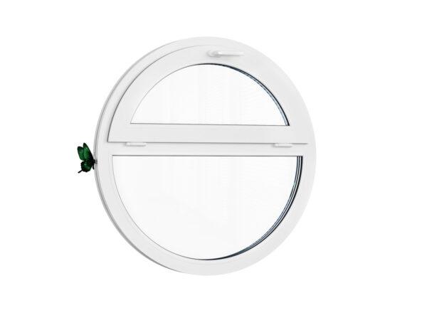 Круглое открывающиеся окно белого цвета